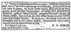Bartz Ida Martine Melvill overlijdensadv 1795