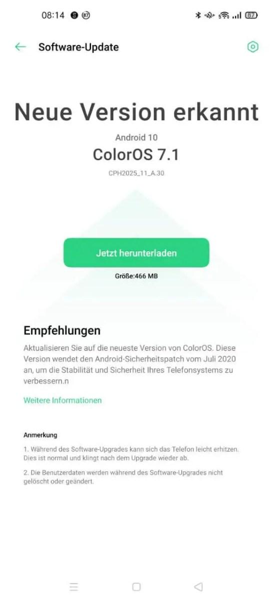 Oppo Find X2 Pro Juli 2020 Update