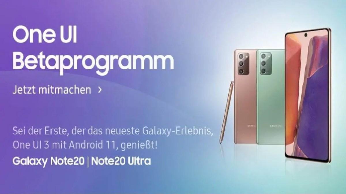 Samsung Galaxy Note 20-Reihe One UI 3.0-Beta Deutschland