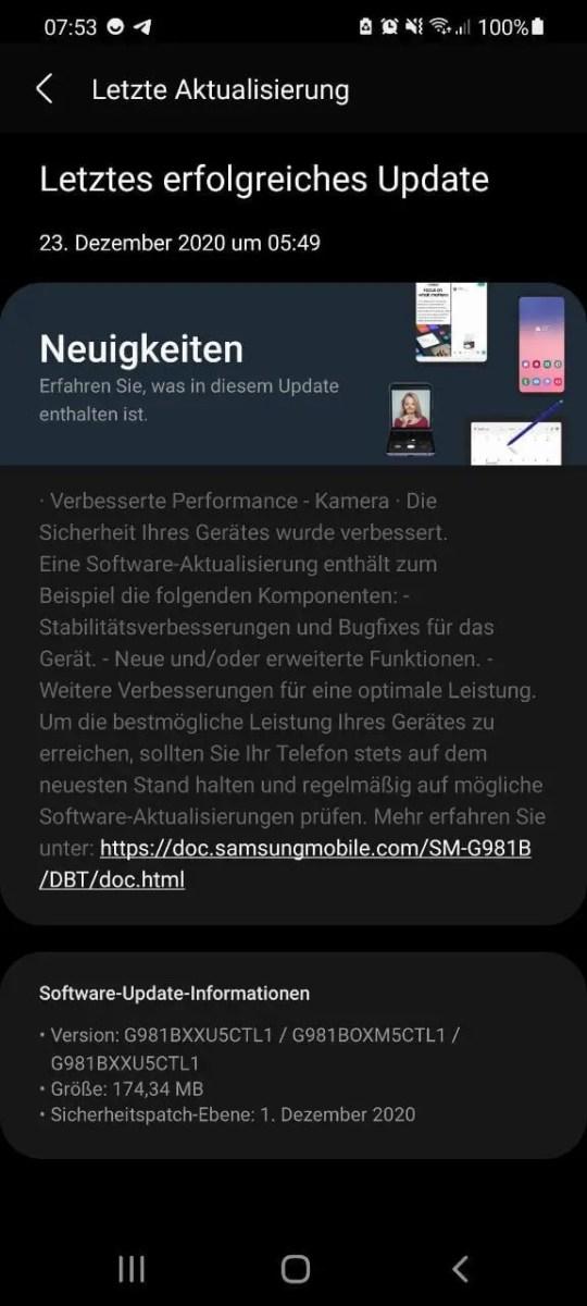 Samsung Galaxy S20 G981BXXU5CTL1 Update