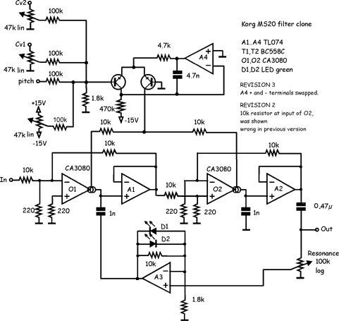 Synth schematics--::-- MS 20 Filter