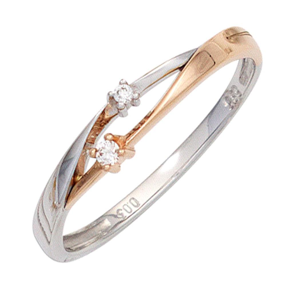 Ring Damenring mit 2 Diamanten Brillanten 585 Gold
