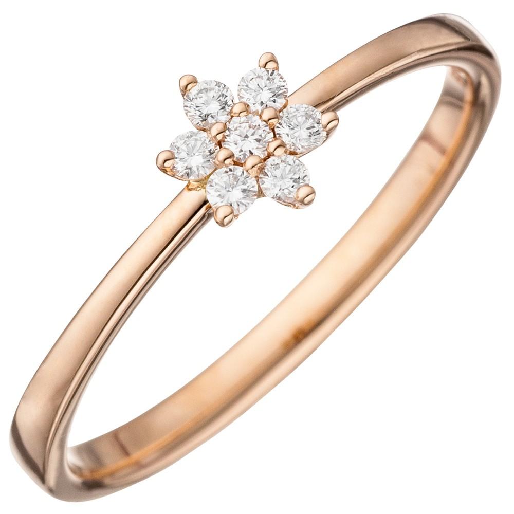 Ring Damenring mit 7 Diamanten Brillanten in Sternform 585