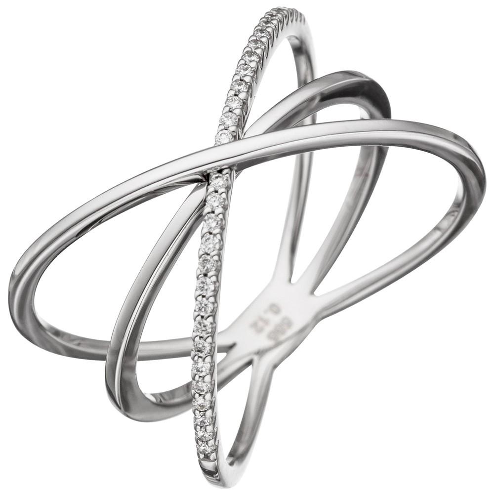 Breiter Ring Damenring mit 30 Diamanten Brillanten 585