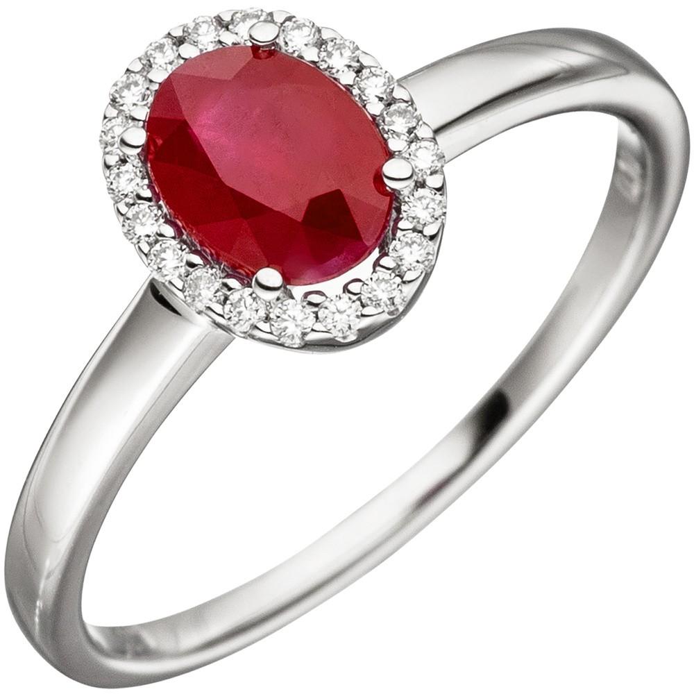 Ring Damenring mit Rubin rot oval  20 Diamanten