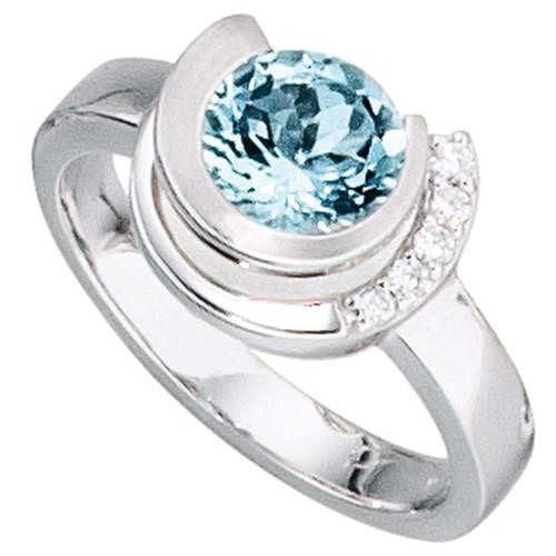 Weigold Ring Damenring Aquamarin Brillanten 585 Gold Fingerschmuck Damen