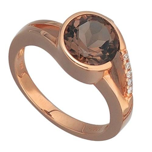 Rotgold Ring Goldring Rauchquarz Brillanten 585 Gold
