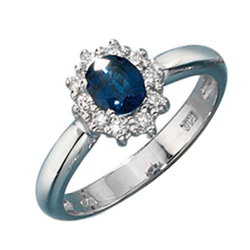 Ring Goldring Damenring blauer Saphir Diamanten Brillanten