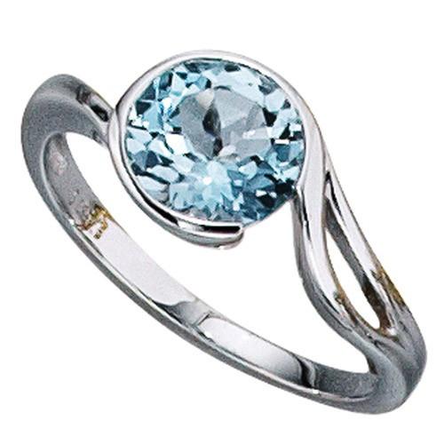 Ring Damenring aus 585 Weigold mit Blautopas Topas