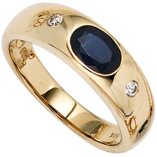 Ring Damenring Safir Saphir blau  2 Diamanten Brillanten