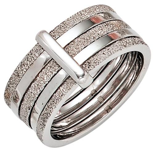 Breiter Damenring Ring aus 925 Silber teildiamantiert