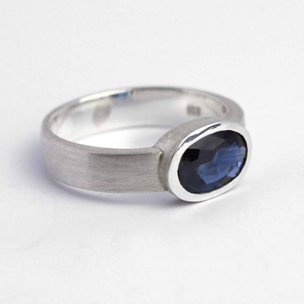 Ring 925er Silber mit echtem Saphir blau  Schmuck Orange