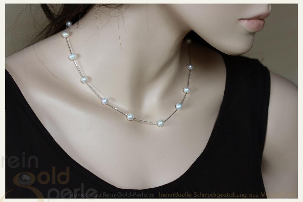 Silber  Perlen Kette kurz  Venezia  exklusiver