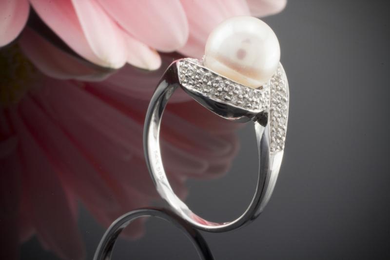 Perlenring 585er Weigold Ring mit Zuchtperle und