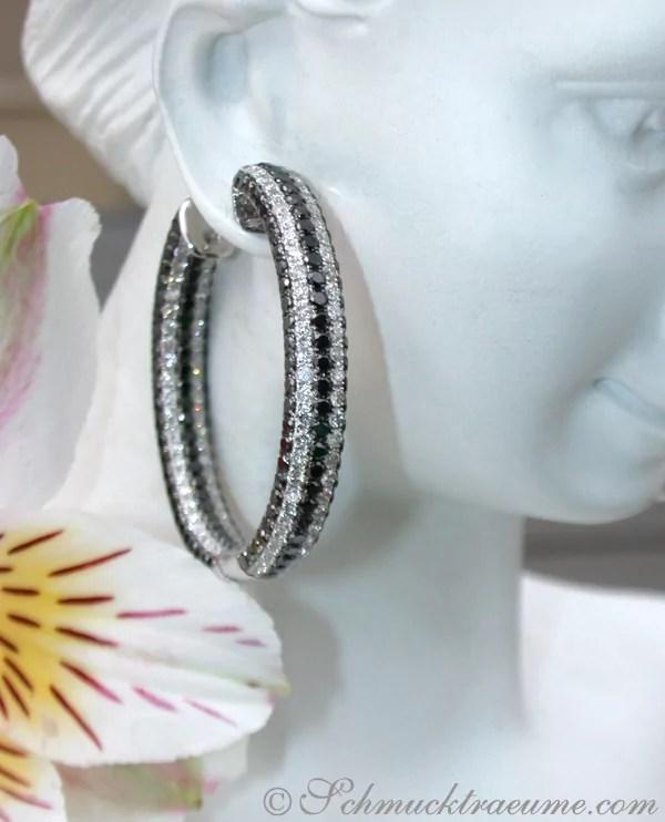 Extravagante Brillanten Creolen mit schwarzen Diamanten  Juwelier Schmucktraeumecom
