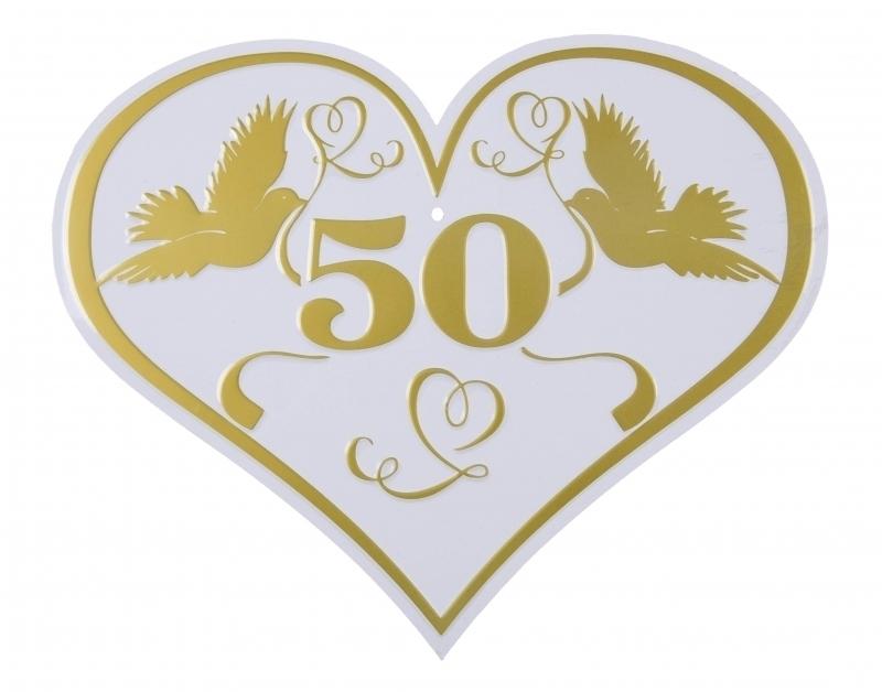 Blechschild Herz 50 zur Goldhochzeit jetzt bestellen