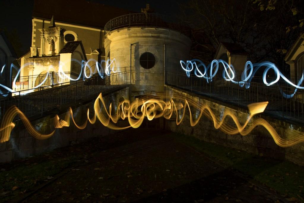 Lightpainting im Kloster St. Luzen. Am Kalvarienberg