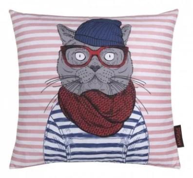 36576-Kissen-HIPSTER-Sailor-Cat-blau-rot-40x40cm