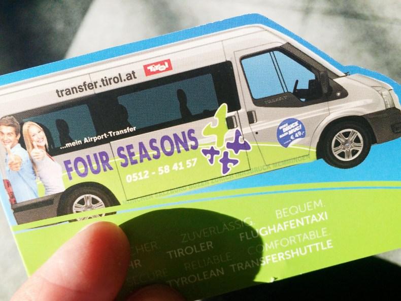 Visitenkarte - Four Seasons Travel - Tirol-Taxi