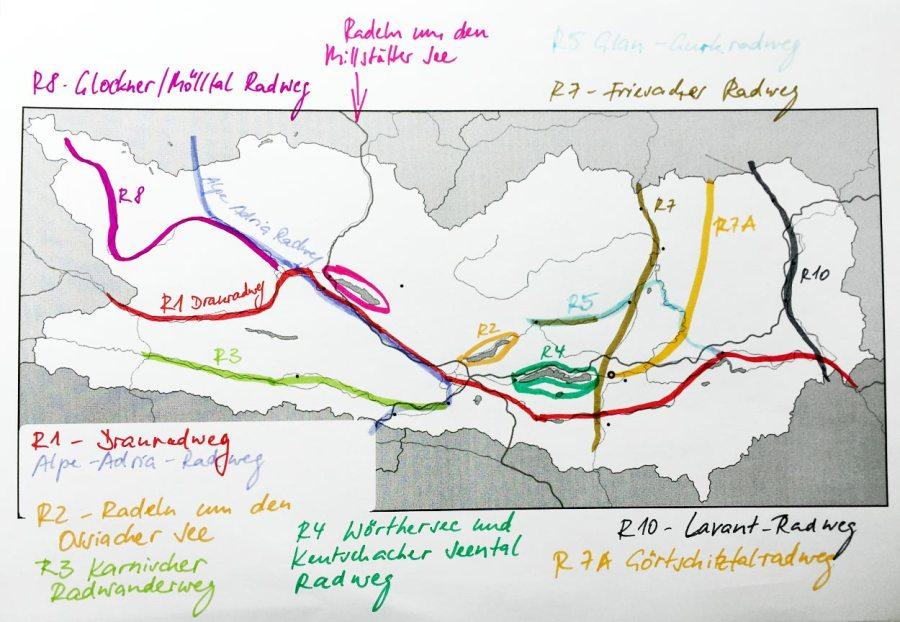 Radwege in Kärnten - Grober Überblick