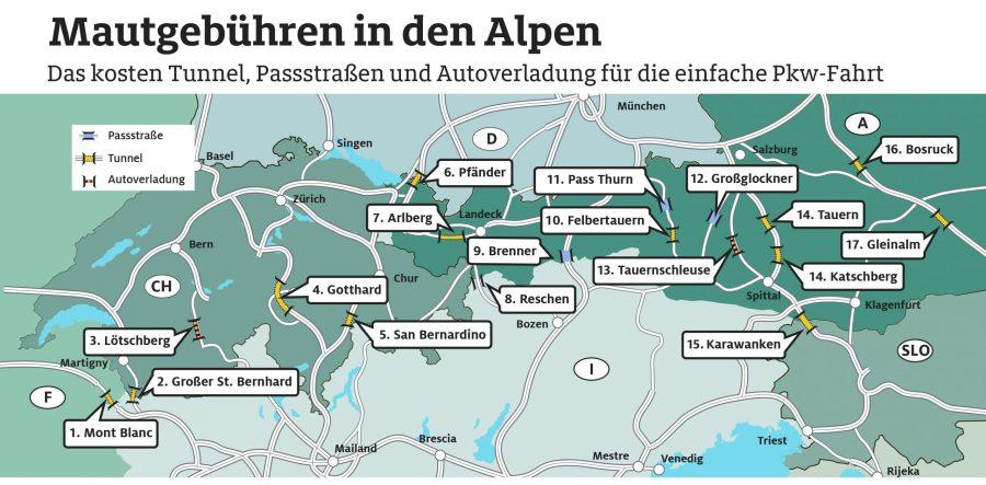 ADAC-ev Touristik Grafik- Mautgebühren in den Alpen - Quelle: ADAC e.V.