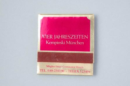 Streichholzschachtel Vier Jahreszeiten Hotel Kempinski München