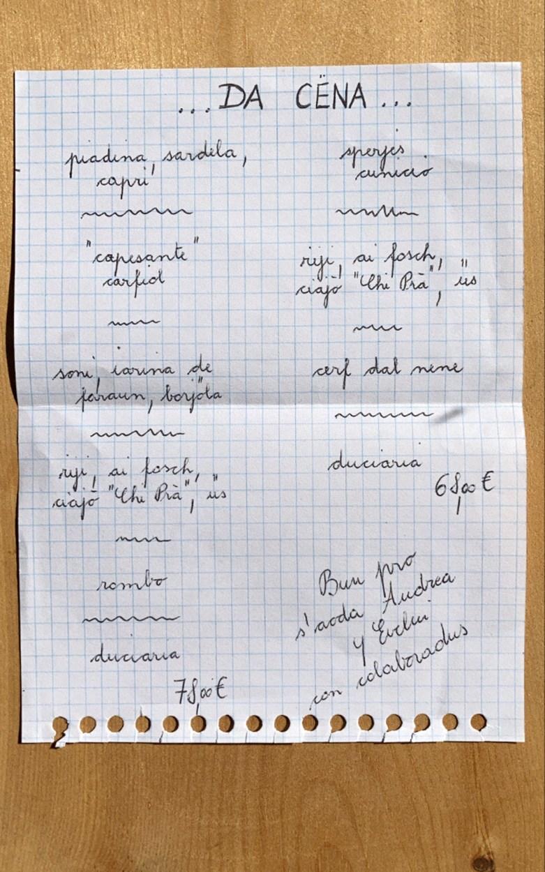 Handgeschriebenes Menü auf Ladinisch