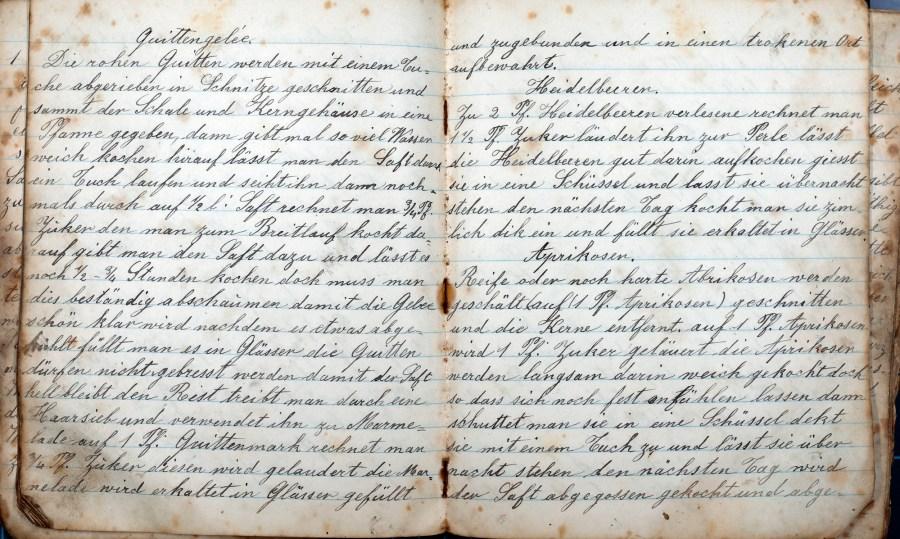Handgeschriebenes Rezept für Quittengelee