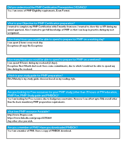 PMP Study Plan - Objectives