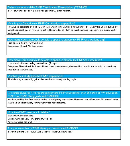 PMP Study Plan - Objectives
