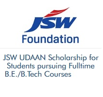 JSW UDAAN Scholarship for Students pursuing Fulltime BE BTech Courses