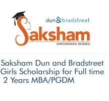 Saksham Dun and Bradstreet Girls Scholarship for Full time 2 Years MBA/PGDM (2020-2021)