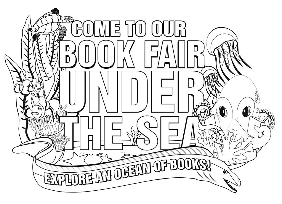 Under The Sea Book Fair Logo (b/w)
