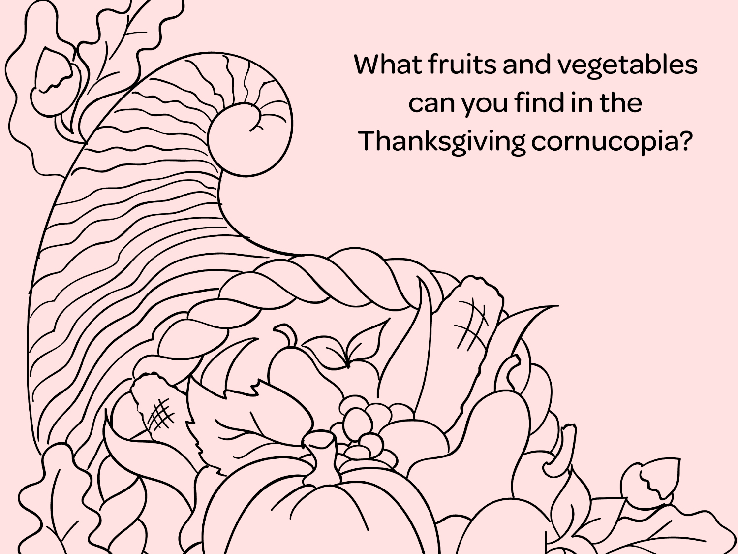 Thanksgiving Printable Coloring Page Cornucopia