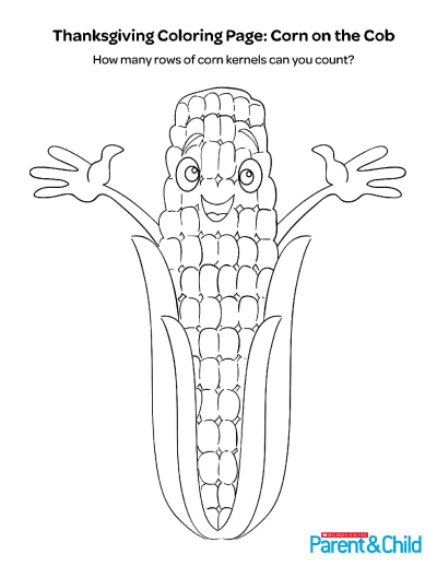 Thanksgiving Printable Coloring Page: Harvest Corn