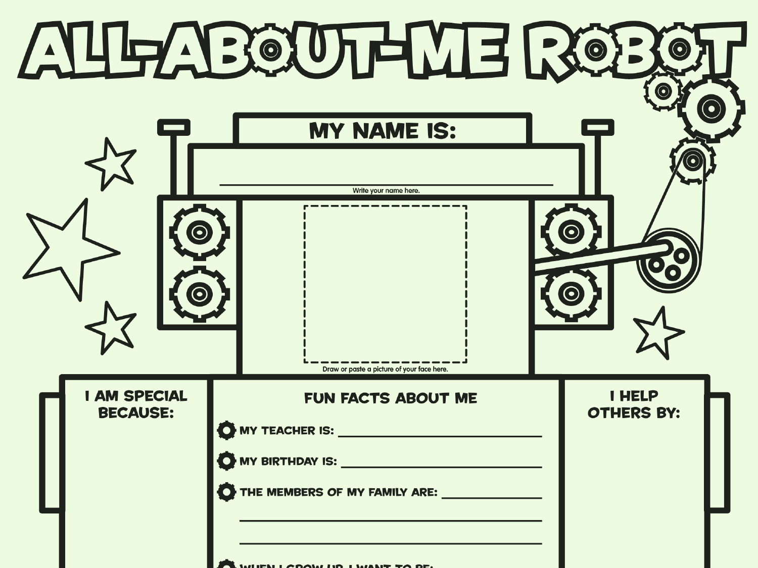 All About Me Robot Fill In Poster
