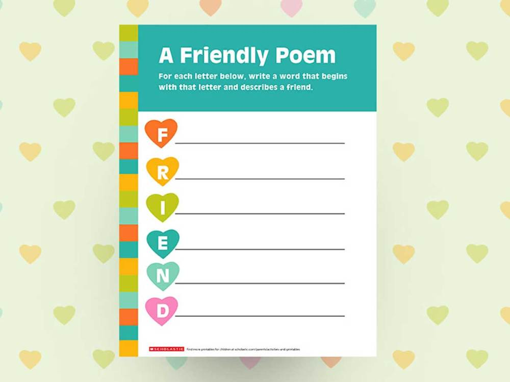 medium resolution of Create a Friendship Poem Printable   Scholastic   Parents
