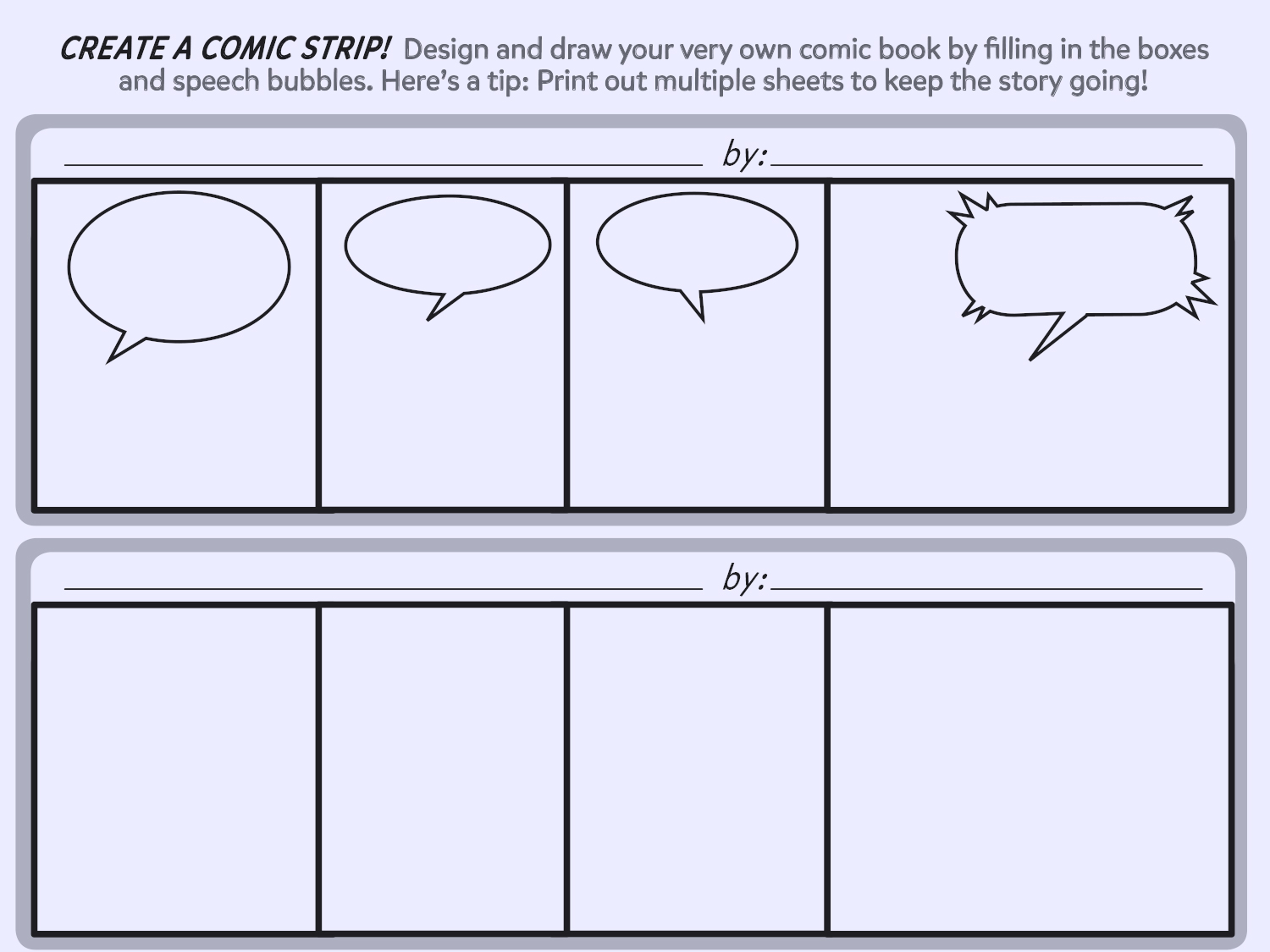 hight resolution of create a comic strip printable template worksheets printables scholastic parents
