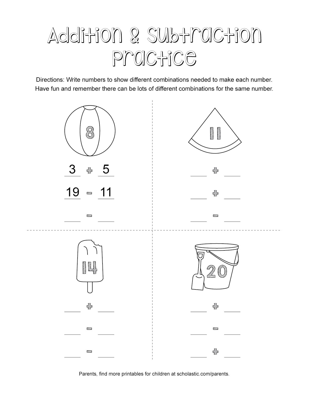 Summer Addition Amp Subtraction Practice Printable