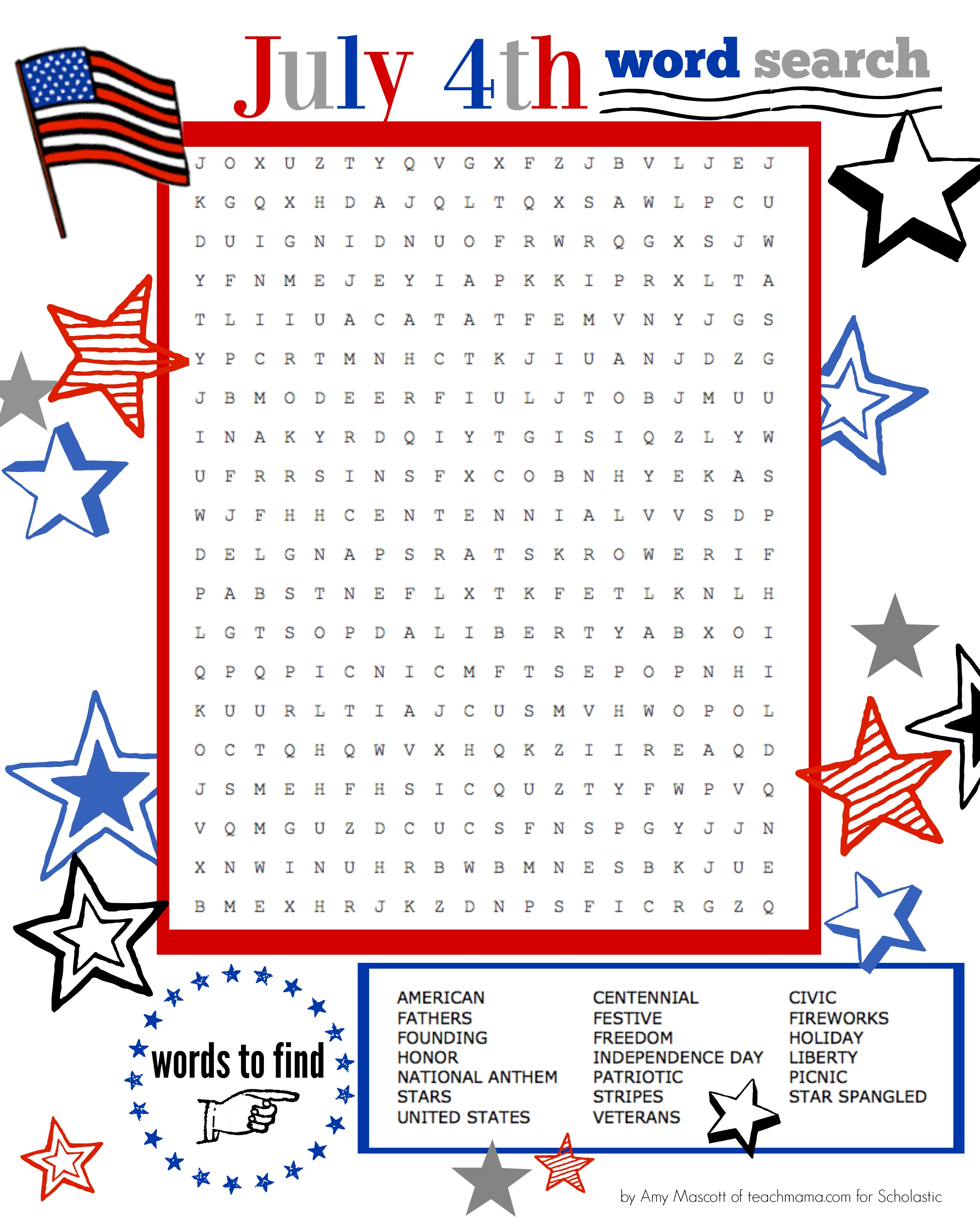 Superstar Celebration July 4th Word Search Printable