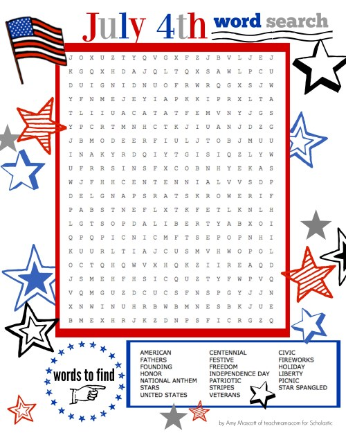 small resolution of Independence Day Word Search   Worksheets \u0026 Printables   Scholastic    Parents