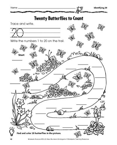 Twenty Butterflies to Count: Math Practice Page