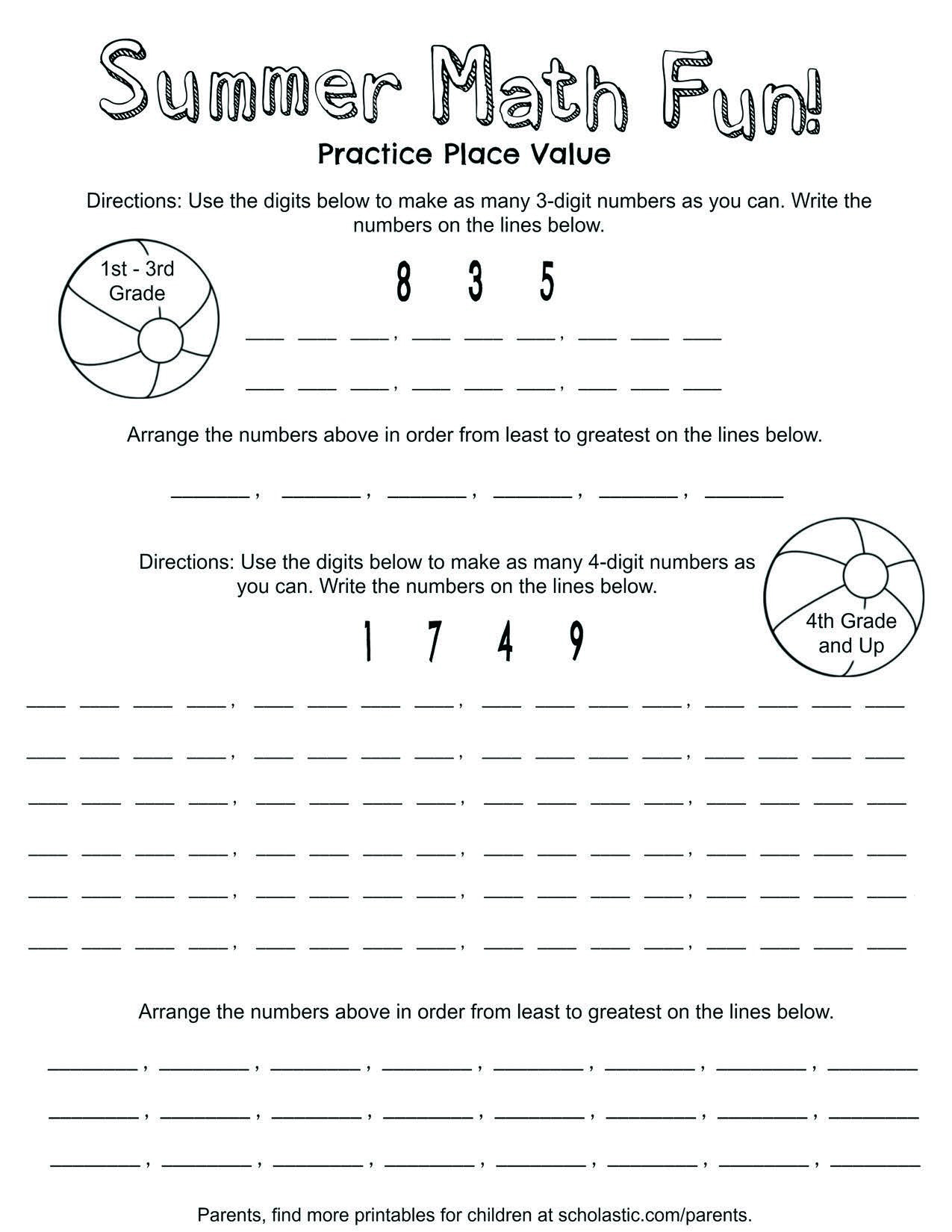 Place Value Summer Fun Printable