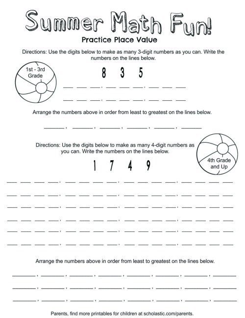 small resolution of Place Value Summer Fun Printable   Worksheets \u0026 Printables   Scholastic    Parents