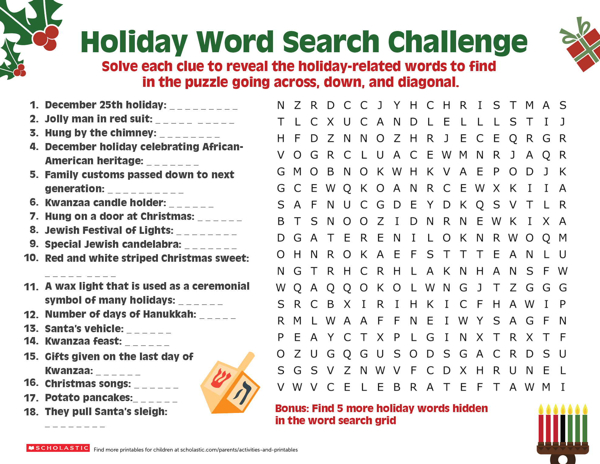hight resolution of A Happy Holiday Word Search   Worksheets \u0026 Printables   Scholastic   Parents