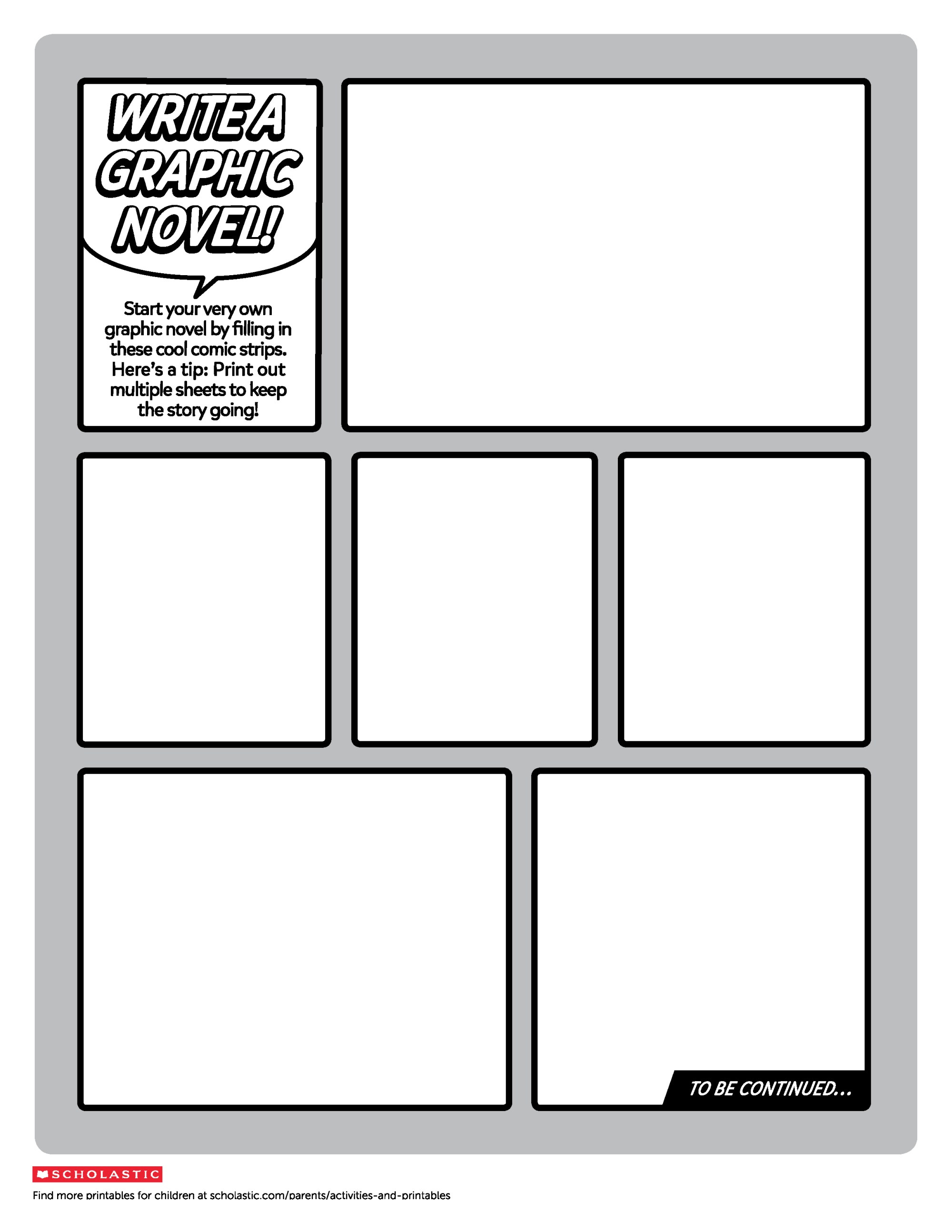 hight resolution of Create Your Own Graphic Novel Template   Worksheets \u0026 Printables    Scholastic   Parents