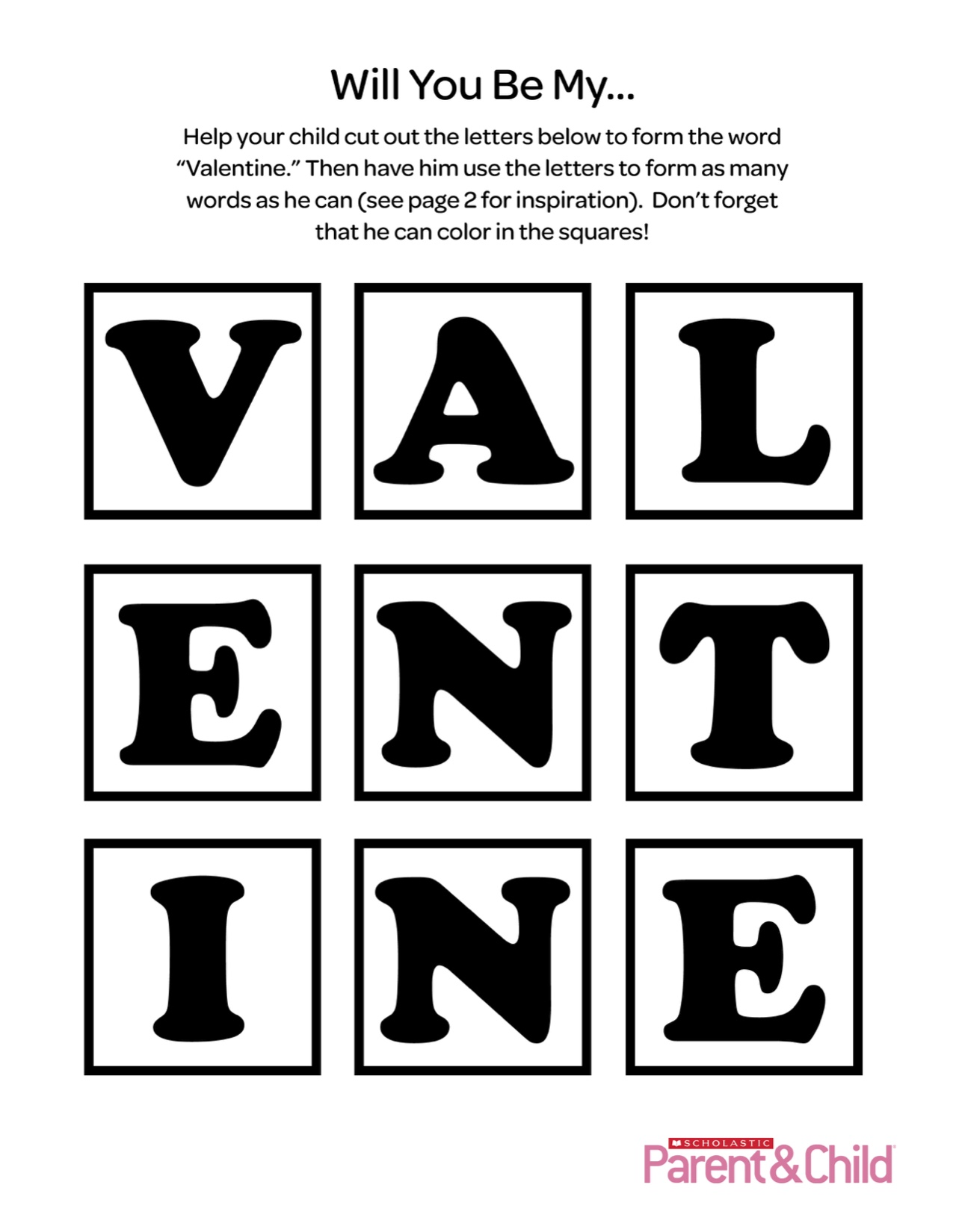 Valentine Printable Letters Activity