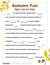 Mad Libs Printable for Fall | Worksheets & Printables ...