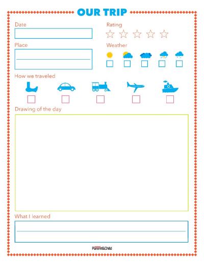 printable trip journal page