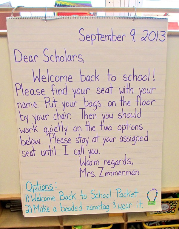 1st Grade Morning Message First Day of School